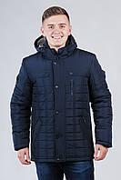 Классическая зимняя мужская куртка темно-синяя (50-64)