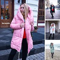 Женская зимняя куртка пуховик с капюшоном 42, 44, 46, розовый, фисташка, оливка, черный, белый