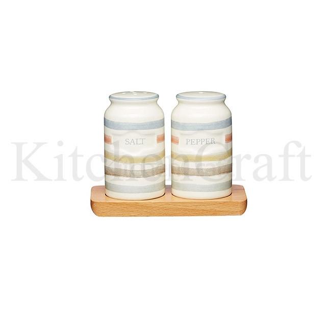 CC Набор для соли и перца керамический на деревяной подставке