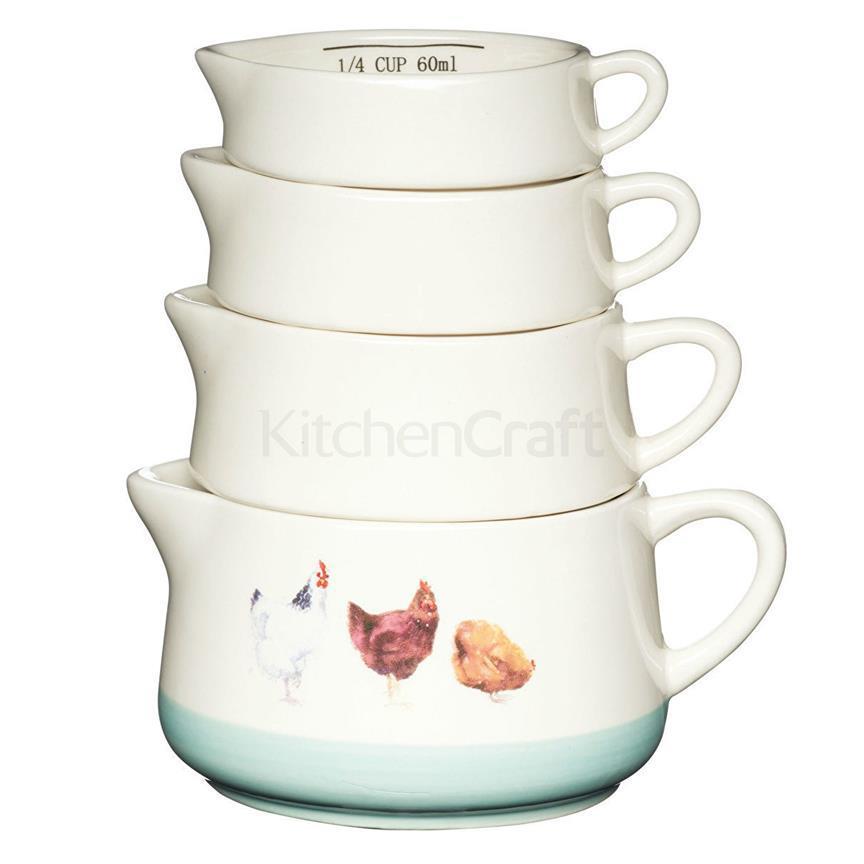 AF Набор мерных чашек керамический Курочки 4 единицы