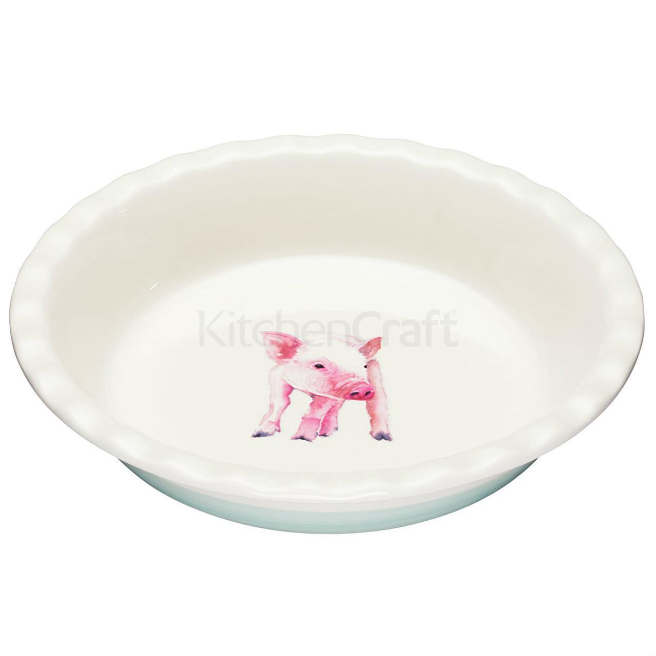 AF Блюдо для пирога керамическое Свинка 26 см