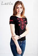 Жіноча футболка з вишивкою Хвилька червона