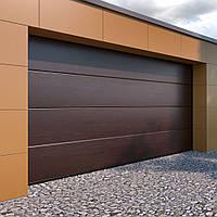 Секционные гаражные ворота KRUZIK 2750-3000 х 2380-2500мм. Эксклюзивный дизайн. Багенный дуб