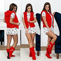Домашний костюм с сапожками. Красный, 3 цвета.