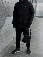 Комплект зимний мужской: парка + штаны + БАРСЕТКА И ПЕРЧАТКИ В ПОДАРОК, черный