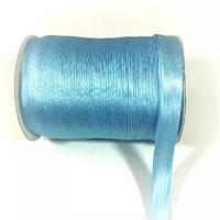 Косая бейка атласная, цвет бледно-голубой