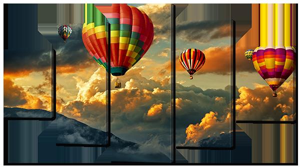 Модульная картина Interno Эко кожа Воздушные шары в облаках 158х90см (А826XL)
