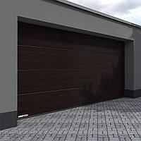 Секционные гаражные ворота KRUZIK 2750-3000 х 2380-2500мм. Эксклюзивный дизайн. Мореный Дуб