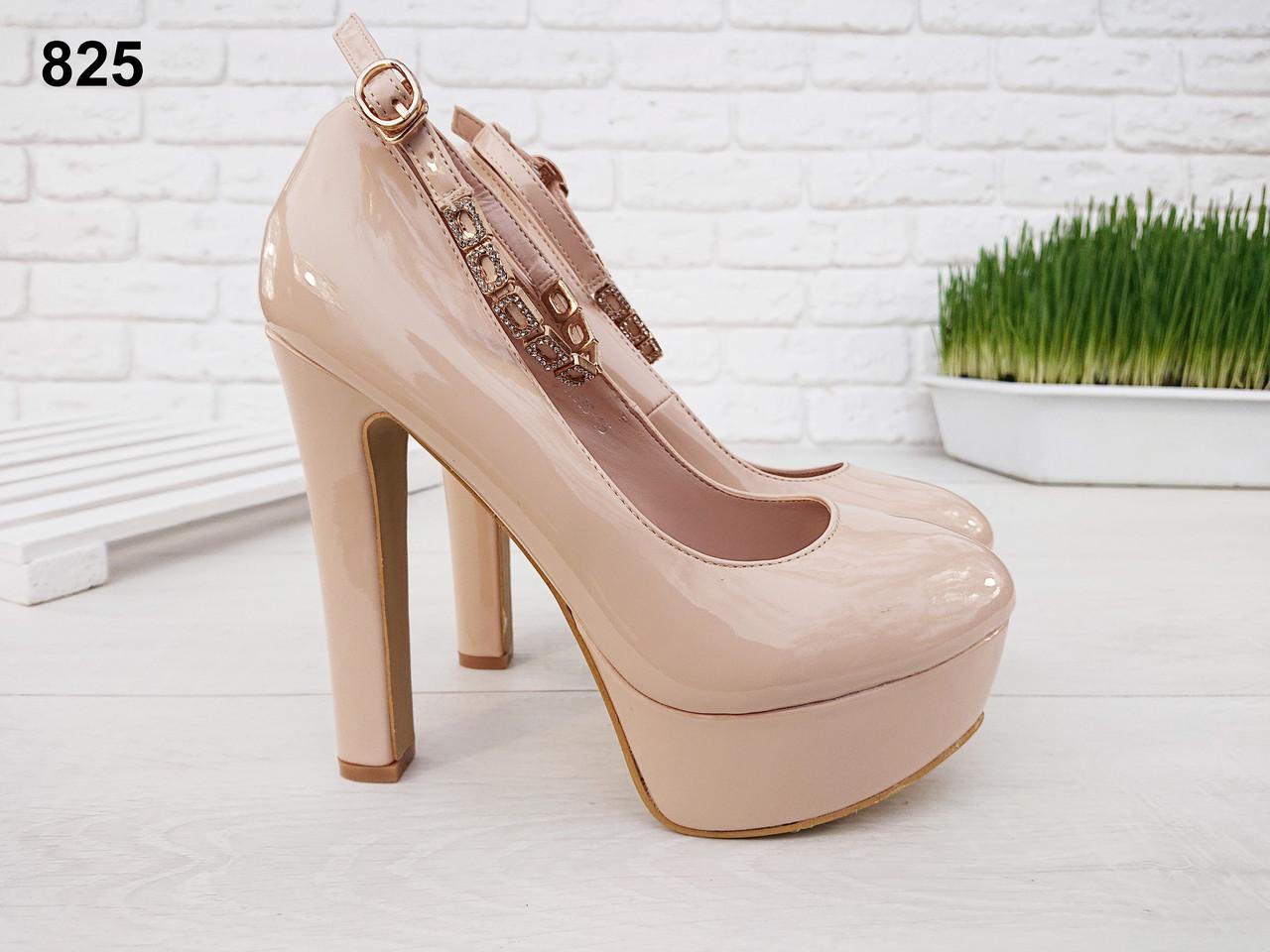 23 см Туфли женские бежевые лаковые на высоком каблуке с ремешком, из лака,из лаковой кожи,ремешок,с застежкой