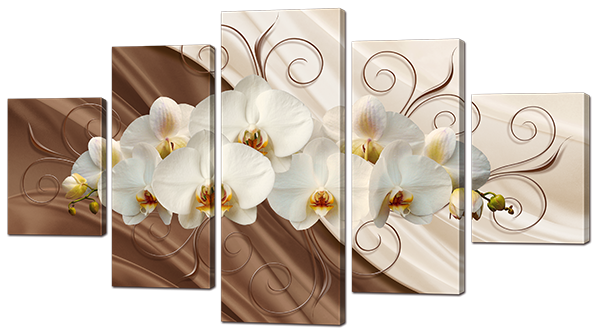 Модульная картина Interno Холст Орхидея на шелке  142х80см (R897L)