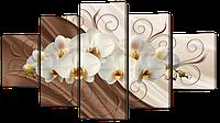 Модульная картина Interno Эко кожа Орхидея на шелке  158х90см (А897XL)