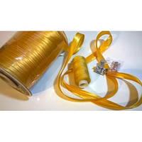 Косая бейка атласная, цвет золотисто-желтый