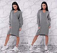 Платье теплое по колено оверсайз свободный крой разные цвета Smch2844, фото 1