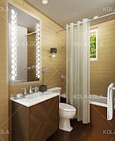 """Зеркало для ванной комнаты с LED подсветкой 800*600h горизонтальное с рисунком """"PARIS"""" D14+вкл кнопка"""