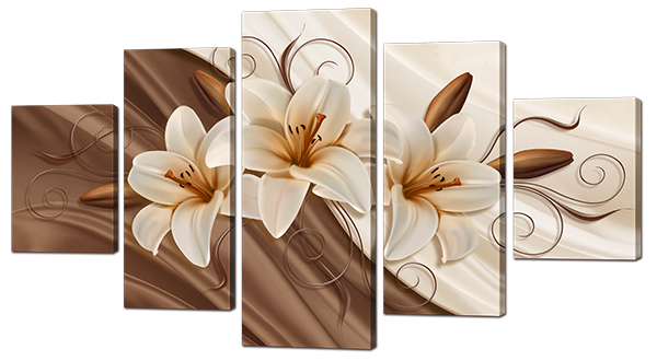 Модульная картина Interno Холст Шелк и лилии   185х106см (R879XXL)