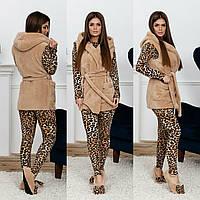 Домашний леопардовый набор 4-ка. Бежевый, 3 цвета.
