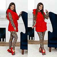 Домашний леопардовый набор 4-ка. Красный, 3 цвета.