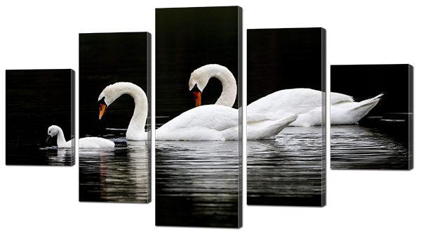 Модульная картина Interno Эко кожа Три лебедя 123х69см (А864M)