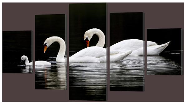 Модульная картина Interno Эко кожа Три лебедя 158х90см (А864XL)