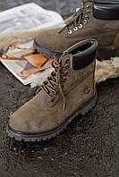 Женские Зимние Ботинки Timberland Brown На Меху (Реплика Люкс) 70da81b92ee50