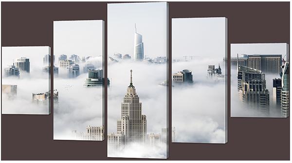 Модульная картина Interno Эко кожа Облачный город 158х90см (А869XL)