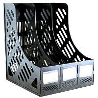 Лоток для бумаги вертикальный пластик ECONOMIX сборный на 3 отделения , черный E31903-01