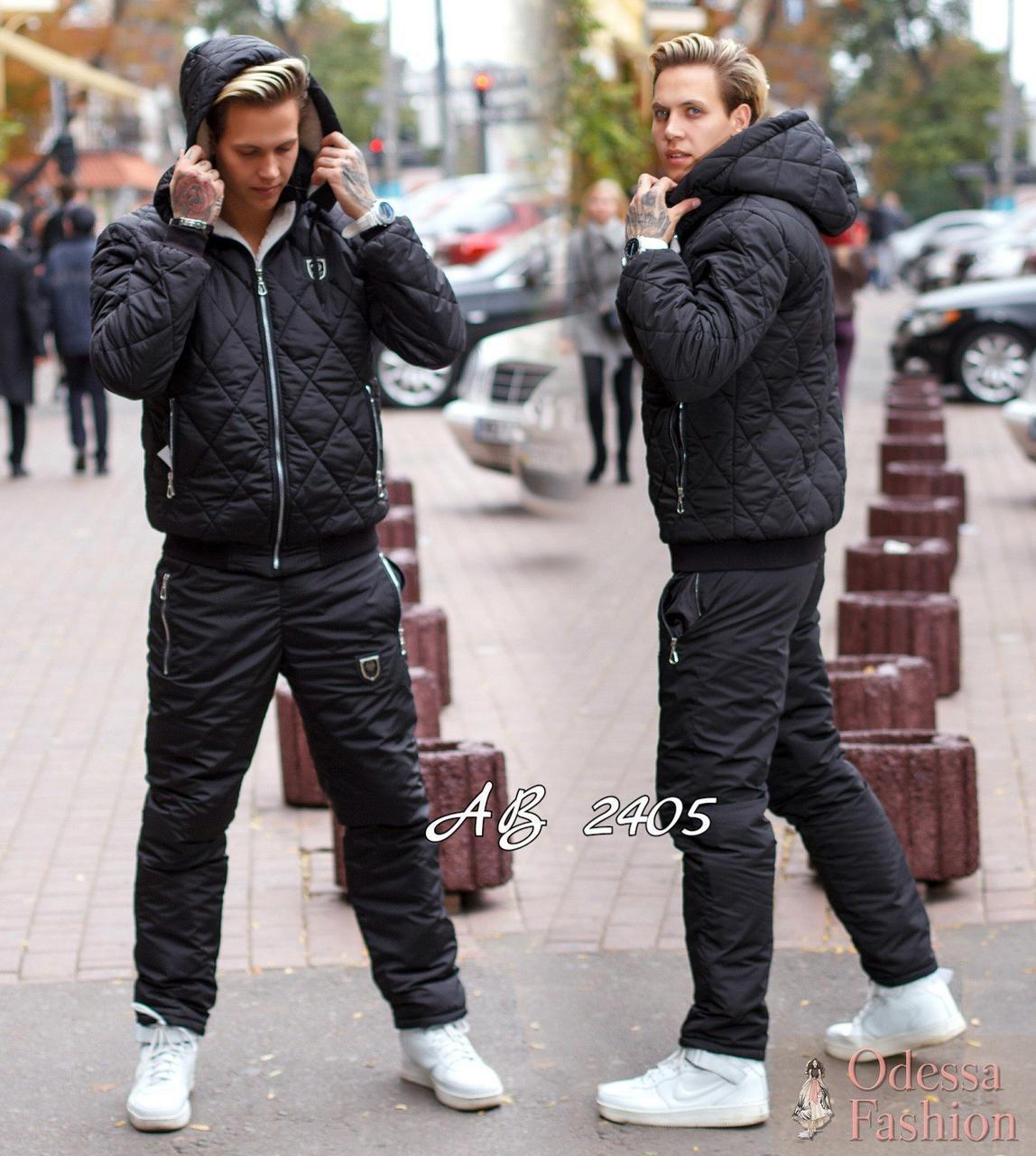 Мужской зимний стеганный прогулочный костюм на синтепоне: куртка на овчине и штаны, батал большие размеры