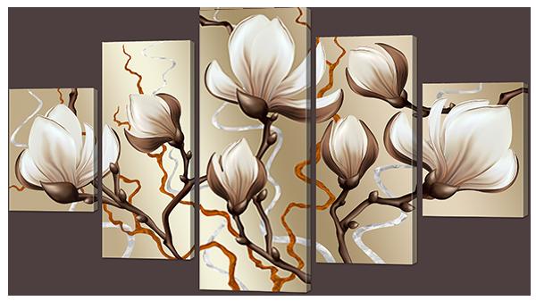 Модульная картина Interno Эко кожа Бутоны цветка 123х69см (А906M)