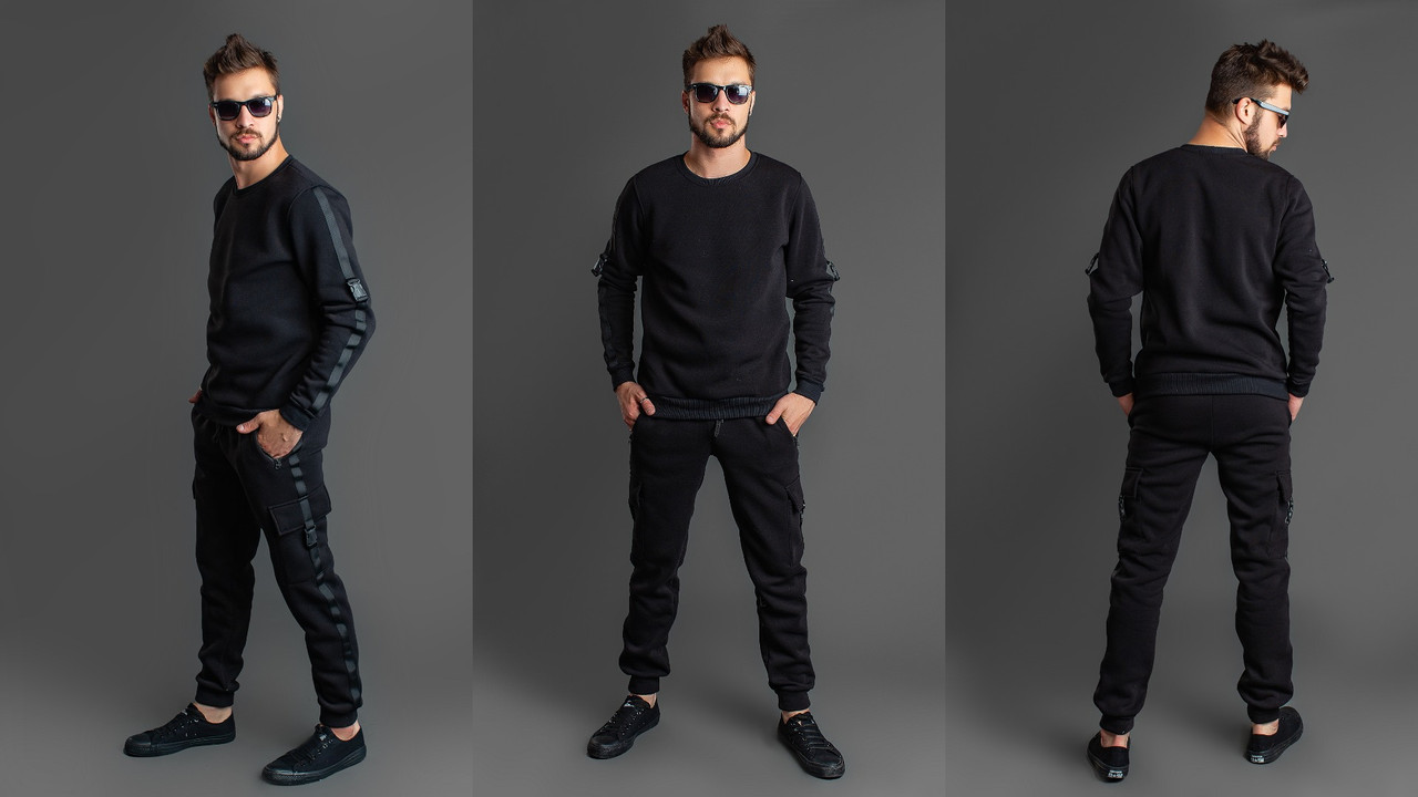 Теплый стильный мужской спортивный костюм с начесом: кофта и штаны с карманами по бокам