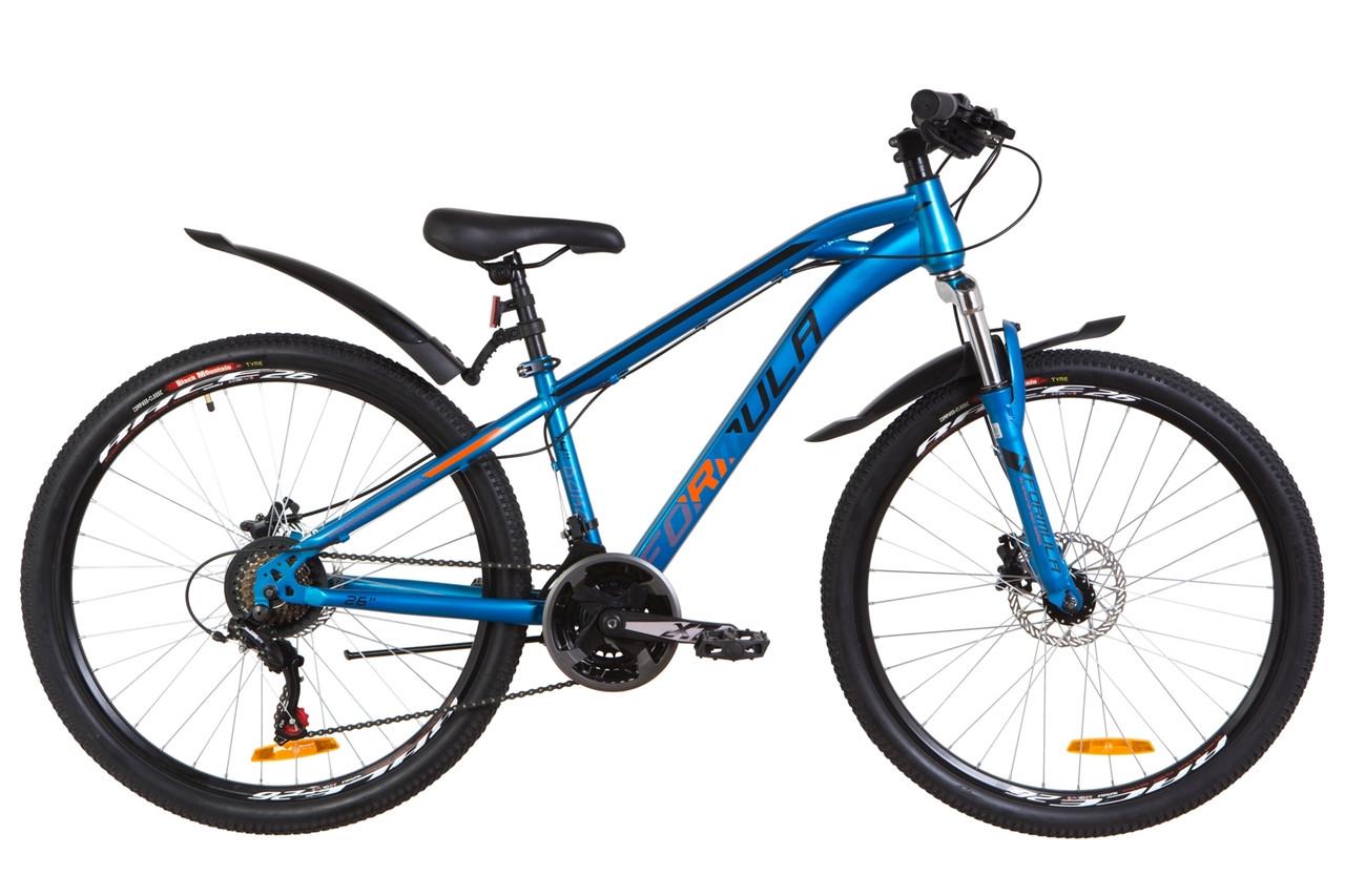 """Горный велосипед 26"""" Formula DAKAR AM 14G HDD St с крылом Pl 2019 (синий с оранжевым (м))"""