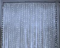 Новогодняя гирлянда шторка 3х3м белый холодный (белый провод)