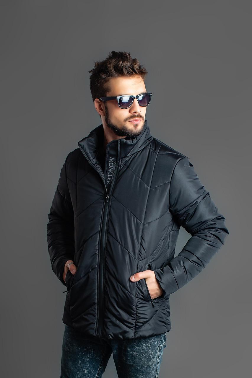 Мужская практичная короткая зимняя куртка с воротом стойкой, плащевка на синтепоне