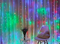 Новогодняя гирлянда шторка 3х3м разноцветная(белый провод), фото 1