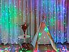 Новогодняя гирлянда шторка 3,5х2м, разноцветная