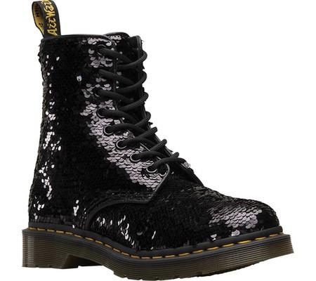 Женские ботинки Dr. Martens 1460 Pascal Sequin Boot Black Silver  Polyurethane 0b8e26e45a2a7