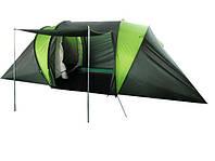 Кемпинговая палатка на 4-6 человек, 2 комнаты, окна, дверь-навес, прочный полиэстер, каркас, 400*210*140 см