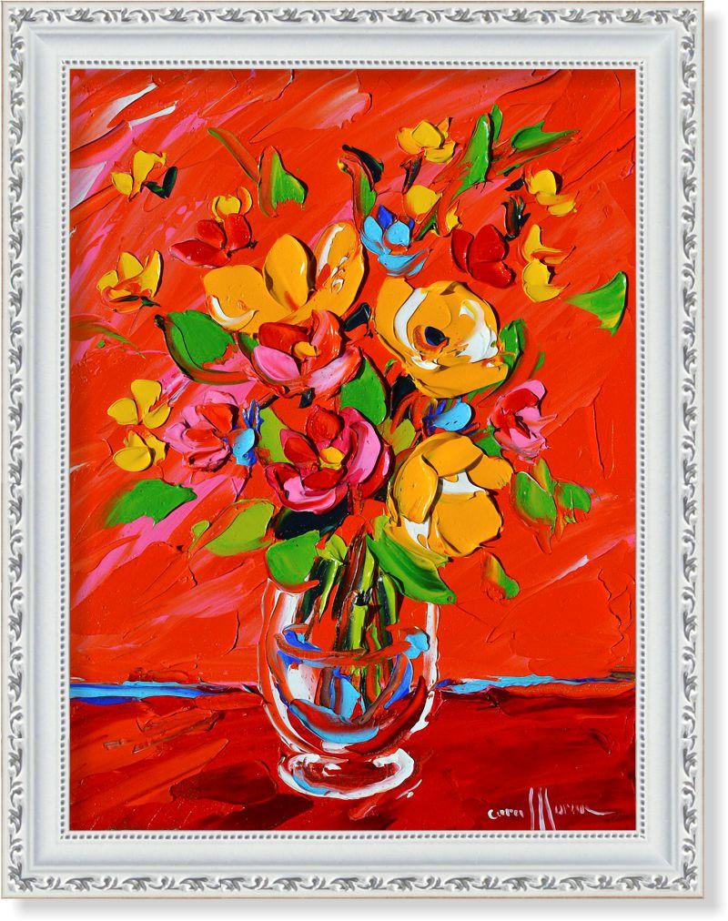 """Репродукція сучасної картини """"Квіти на червоному"""""""