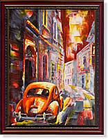 """Репродукция  современной картины Мико Вика (Мальта) """"На авто по старым улочкам"""""""