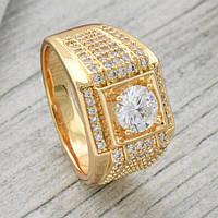 Печатка, кольцо мужское XUPING размер 20,5, медицинское золото, позолота 18К