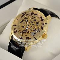 Мужские наручные часы Omega Skeleton Gold  Омега механика женские унисекс качественные премиум реплика