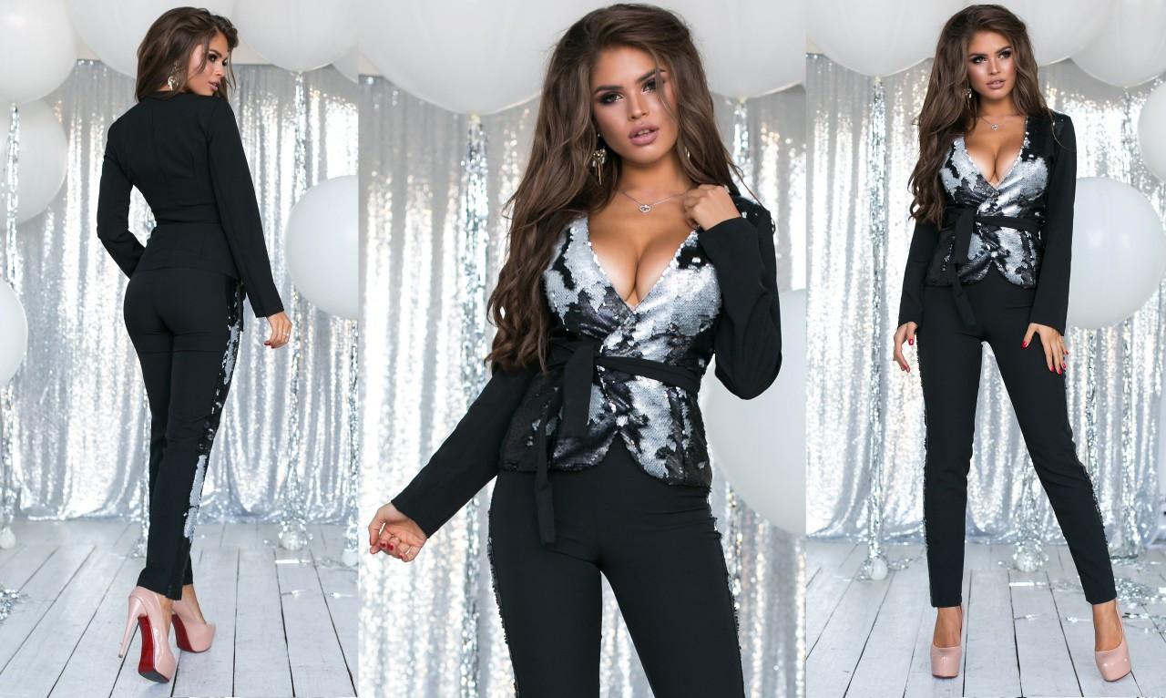 4eac569453f8d3f Элегантный женский нарядный брючный костюм 2085