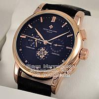 Мужские наручные часы Patek Philippe Perpetual Calendar Gold Black механические Патек Филипп реплика