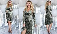 """Элегантное вечернее женское платье в больших размерах 2082 """"Велюр Мрамор Запах Драпировка"""" в расцветках"""