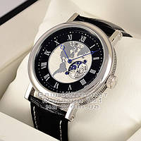 Мужские наручные часы Breguet Classique 5717 Hora Mundi Silver Black Брегет кварцевые качественная реплика