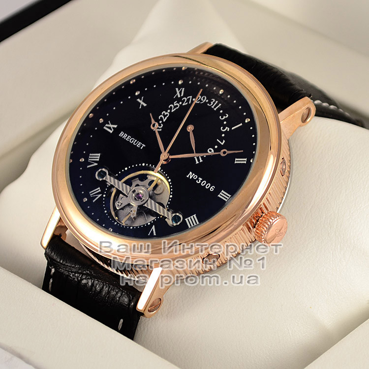Мужские наручные часы Breguet Classique Tourbillon Extra-Thin Automatic 3006 Gold Black Брегет люкс реплика