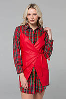 Костюм-двойка (рубашка+кожаный сарафан) POLA красный, фото 1