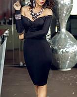Сексапильное маленькое черное платье до колен с открытыми плечами на Новый год MD-60565