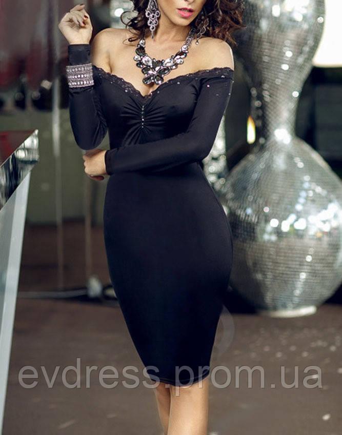 a76144e5563 Сексапильное маленькое черное платье до колен с открытыми плечами на Новый  год MD-60565 -