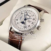 Мужские наручные часы Longines Master Collection Moon Silver White Лонжин механические люкс реплика