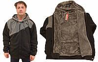 Куртка мужская трикотажная на меху с капюшоном - большие размеры